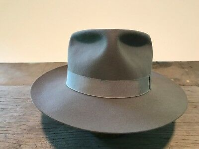 Vintage late 40s - early 50s Borsalino Trionfo, gray fedora, size 7 3/8