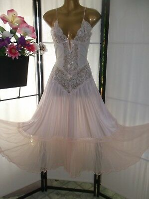 Vintage babydoll nightgown Escante M/L pale blush pink sheer sexy burlesque EUC