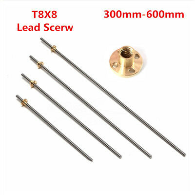 T8x8 300-600mm Lead Screw Pitch 2 Lead 8 Stainless Rod Linear Rail Bar Shaft