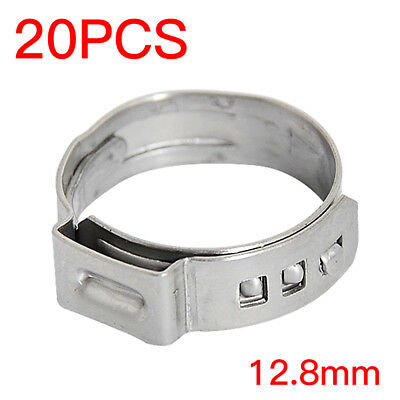 """1/2"""" inch PEX Stainless Steel Clamp Cinch Rings Crimp Pinch Fit 20 PCS Universal"""