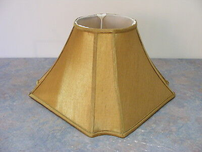 Vintage Large 24.5cm Bright Gold Fabric Lamp Shade - Lined - Good Condition