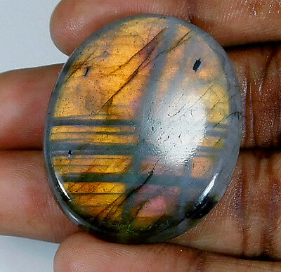 57.50Cts. Natural Golden Labradorite Cabochon Gemstone Oval ;#83795