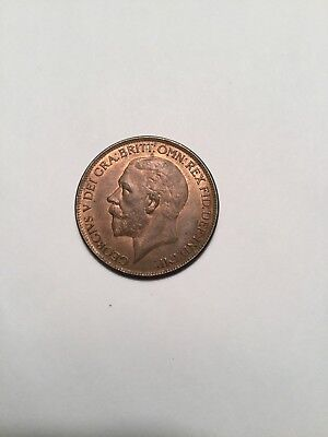 1927  Large Copper Penny Great Britain Very High Grade