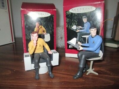 2 Hallmark Keepsake Ornaments Star Trek Capt. James Kirk 1995 & Mr Spock 1996