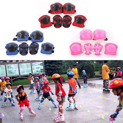 Kids Outdoor Skating Skateboard Roller Knee Wrist Elbow Guard Pads Protector 6pc