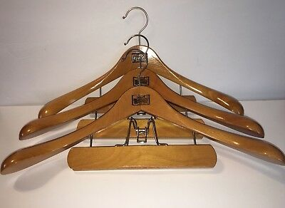 Lot Of 3 Fitwell 2 W Germany Wood Hanger Lot Suit Pants Trousers Coats Vintage