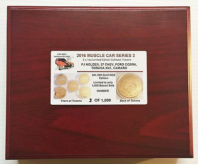 2016 Boxed Set of 5 x 1oz  Muscle Car Series 2 Coins Gold HGE Eddition LTD 1,000