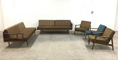 Mid Century Sectional Sofa Daybed 3 Lounge Chairs 5 Pc Livingroom Set 'As Is'