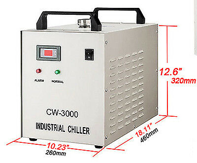 Water Chiller for Laser Engraver with 60W / 80W CO2 GlassTube CW-3000DG110V