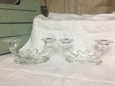 Set of 2 Double Arm Crystal Candle Holder Candlestick Glass Pair Holders