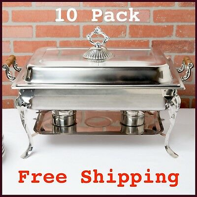 10 Pack: Classic Rectangle 8 Qt. Full Size Stainless Steel Catering Chafer Dish