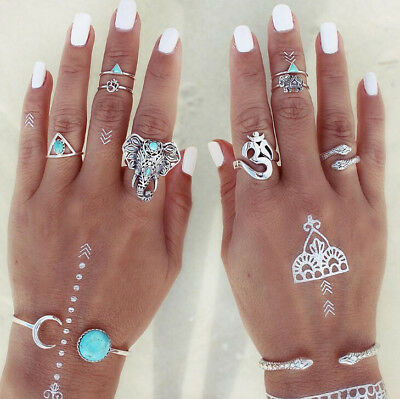 8Pcs Women Vintage Mid Ring Set Bohemian Punk Turquoise Joint Knuckle Nail