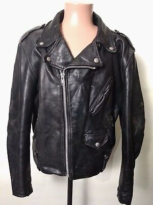 Schott Perfecto Black Leather Motorcycle Biker Jacket Mens 46