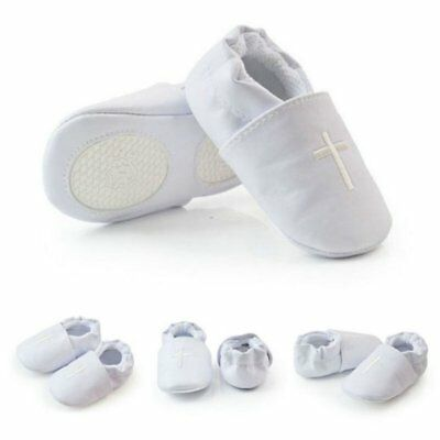 US Baby Boy Girl Cross Baptism Shoes Soft Soled Modest Christening Church 0-18M