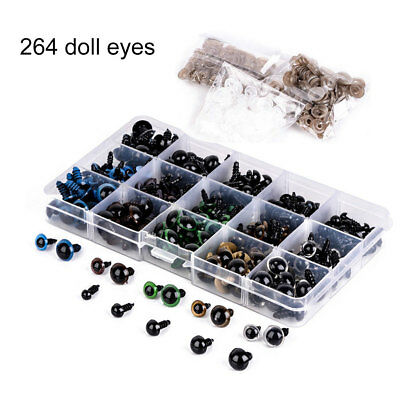 264 Pcs Plastic Safety Eyes for Teddy Bear Dolls Animal Puppet Felting Crafts