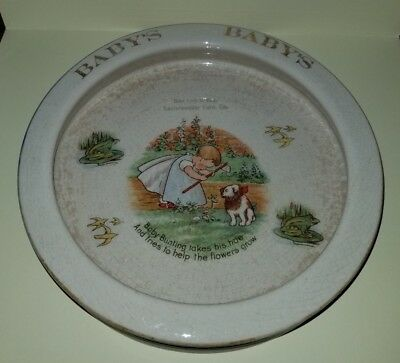 Antique Baby Bowl w Baby Bunting Poem Ad for Laufersweller Furniture Co. England