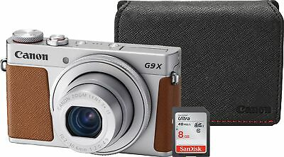 Canon new PowerShot G9X Mark II Silver Camera with 8GB SD Card and Case Bundle