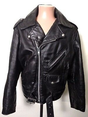 Vintage Gregory & Mark Black Leather Motorcycle Jacket Like Perfecto Mens 44