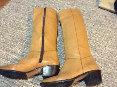 Vintage CATLEIA Leather Honey Brown Knee High Boots Size 6 1/2