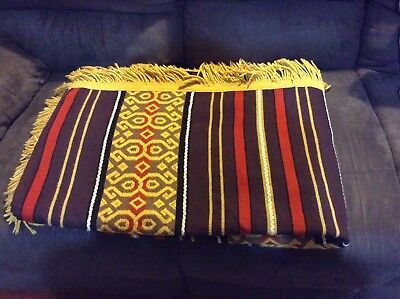 Vintage Woven Blanket Throw Rug Aztec Yellow Brown Red Double Bed Lamp Shade