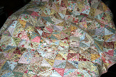 "NEW - Hand Made Quilt ""SHABBY CHICK"" Design by Quilt-Addicts 77"" x 70"""