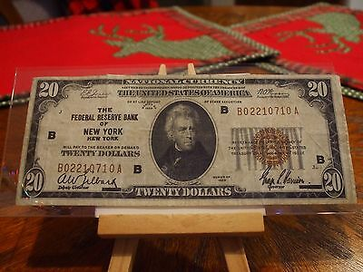1929 Series $20 National Currency Note From The Frb Of New York,new York,vf