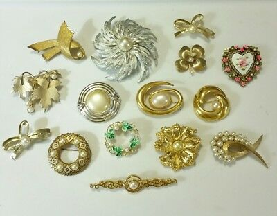 LOT of 15 Antique VINTAGE Faux-Pearl Pins BROOCHES GORGEOUS! All are Signed!
