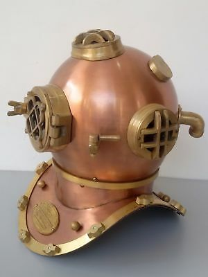 Us Navy Mark V Antique Royal Model Solid Copper Brass Diving Divers Helmet Gift