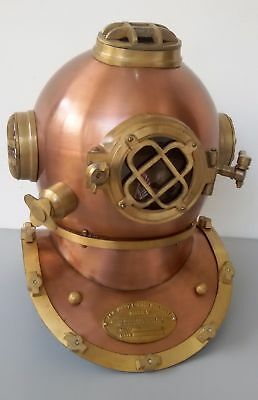 Mark V Model Antique Royal Us Navy Solid Copper Brass Diving Divers Helmet Gift