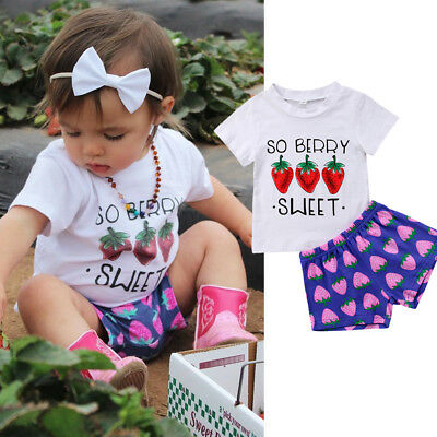 US Stock Toddler Kids Baby Girls Clothes T shirt Top + Shorts Pants Outfits Set