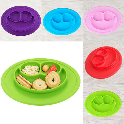 Silicone Happy Mat Baby Kids Suction Table Food Tray Placemat Plate Bowl
