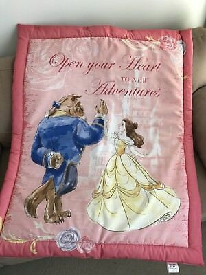 Disney Pink Beauty & The Beast Cot Quilt Or Playmat Handmade NEW