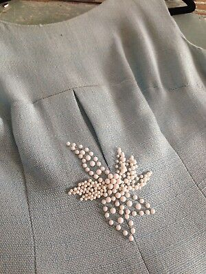 Ladies Women's Vintage 60's Shift Dress Pale Blue With Beads Bows To Back 8-10