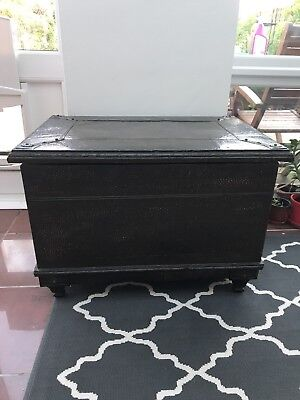 Antique Reproduction Copper Plated Chest In Good Used Condition