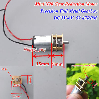 DC 3V 5V 6V 56RPM Slow Speed N20 Mini Full Metal Gear Motor Precision Gearbox
