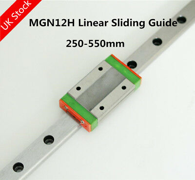 MGN12H Linear Rail Guide 200-550mm + MGN12H Block For 3D Printer CNC DIY