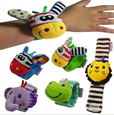 Baby Kids Cute Soft Plush Animals Play Wristband Rattles Hand Toy Gifts 5 Styles