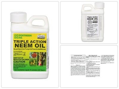 Triple-Action Neem Oil 8 oz. Natural Fungicide Insecticide Organic Weed Killer