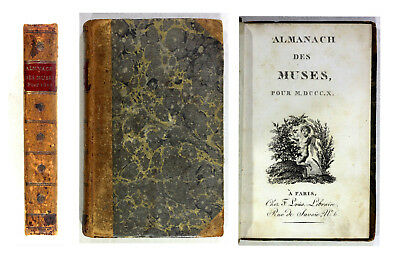 1810 Old Antique 19th Century French Almanch des Muses MDCCCX Poetry Poems