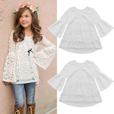 Kids Baby Girl Long Sleeve Floral Lace Tops Tee Shirt Blouse Casual Clothes 2-7T
