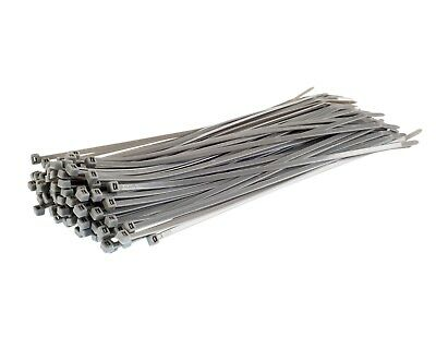 100 SILVER CABLE TIES - Strong Nylon Plastic Straps Zip Tie Wraps - HIGH QUALITY