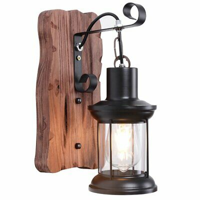Vintage Unique Style Industrial Wood Wall Light Black Metal Glass Lantern Lamp