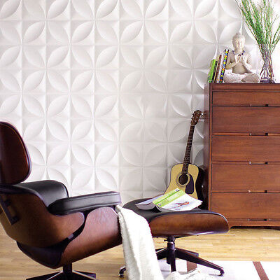 1/4/12pcs 3D White Wall Panel TV Background Wallpaper Home Shop Signboard Decor