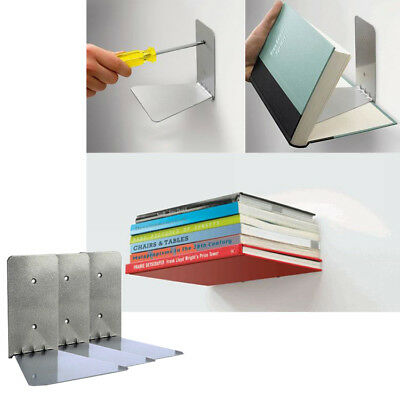 Pack of 3 Conceal Invisible Bookshelfs Wall Mounted Floating Shelves Storage US