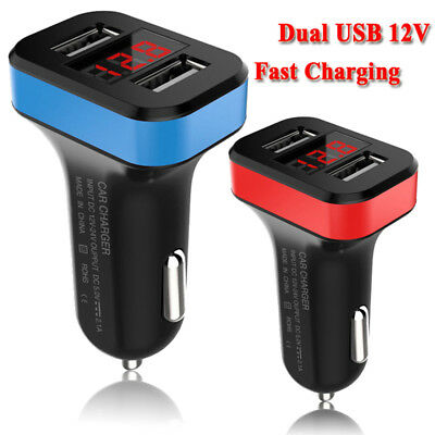 UK Dual USB 12V Car Fast Charger Adapter LED Display Fast Charging For Phone