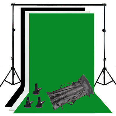 Photography Background Stand Kit + Photo Studio Black White Green Backdrop Set