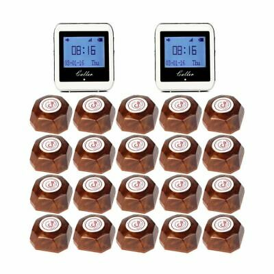 Wireless Restaurant Pager Coaster Paging System 2 Watch Receiver+20 Call Button