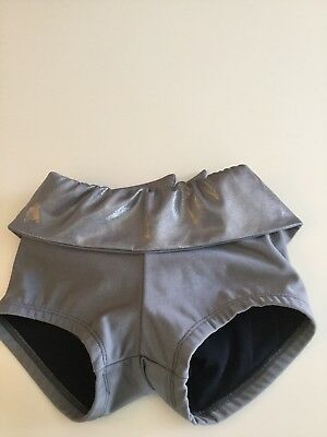Details dancewear High Waisted Shorts Silver With Tied Back Child Size Large