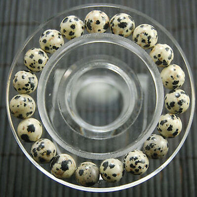 New 10mm beautiful  Natural Dalmation Spot Round Beads bracelet 7.5 ""