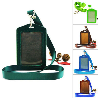 PU Leather Id Card Holders Case Business Badge Card Holder with Necklace Lanyard